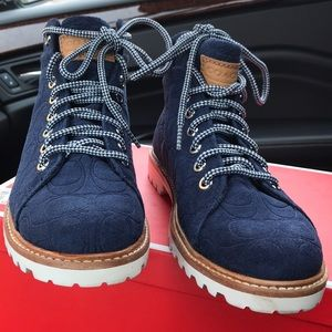 Coach Navy Blue Suede Boots Size 6